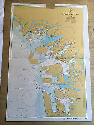 Large Admiralty Chart Office Map of Japan Osaka and Amagasaki Naval Map 1995