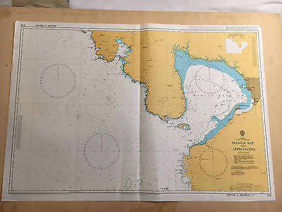 Large Admiralty Chart 976 Office Map of Manila Bay and Approaches Naval Map