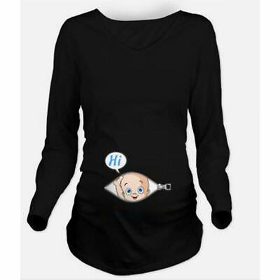 Lovely Cartoon Baby Staring Women's Maternity Pregnant Long Sleeve T-shirts Tops