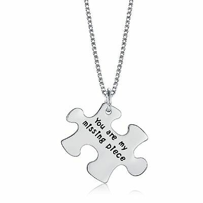 925 Silver Plt 'You Are My Missing Piece' Jigsaw Puzzle Engraved Necklace D