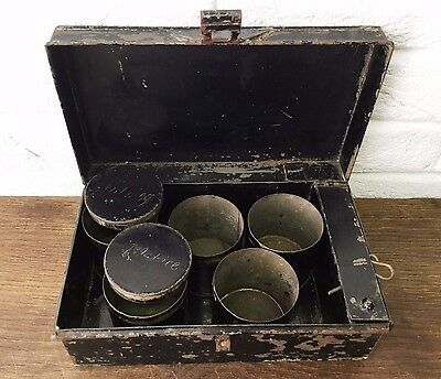 Old Travelling Metal Spice Tin Box With Five Round Canisters - Vintage Prop