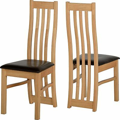 Pair of Ainsley Dining Chair in Oak Veneer with Brown Faux Leather Seat Pad