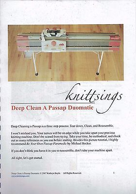 Knittings - Deep Clean a Passap Duomatic Spiral Bound Booklet