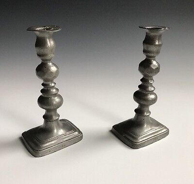 A Pair Of  Early English Antique Pewter Candlesticks With Hallmarks
