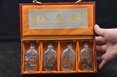 4pc Chinese folk Inside painted Eight - tiger glass SNUFF BOTTLE