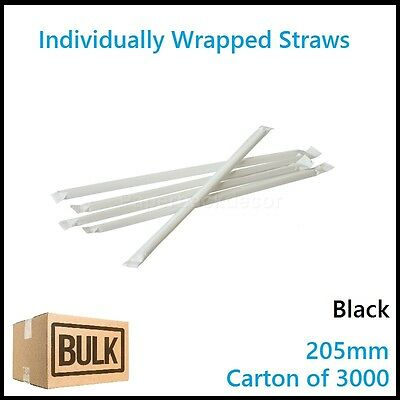 Bulk 1000 Individual Wrapped Drinking Straws Straight Disposable Plastic Paper
