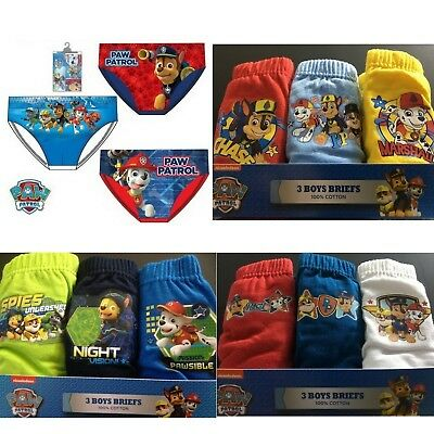 Boys Kids Character Paw Patrol 3 pack Briefs Underwear Pants Age 2-8 Years