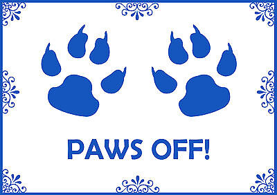 Paws Off Pink & Blue Pet Cat Dog A4 Feeding Food Mat -Laminated Card- Wipe Clean