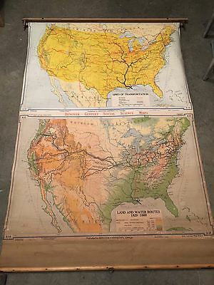 "Vintage 1948 Denoyer Geppert "" U.S. Transportation & Water Routes"" Pull Down Map"