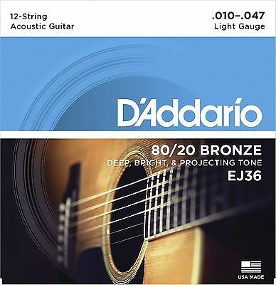 D'Addario EJ36 80/20 Bronze 12-String acoustic guitar strings, Light .010-.047