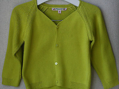 Bonpoint Baby Yellow Cotton Cardigan 2 Years