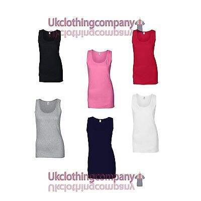 Gildan Softstyle Ladies Tank Top  - Womens Strappy Top - Vest t-shirt xs to xxl