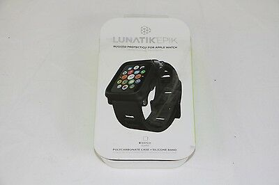 Genuine LUNATIK EPIK Case & Silicone Band For 42mm Apple Watch Black EPIK-001