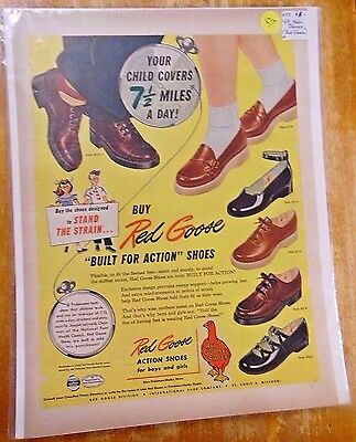 "RED GOOSE SHOES- FULL (14"" x 11"") COLOR PAGE MAGAZINE PRINT AD-1949-NEAR MINT"