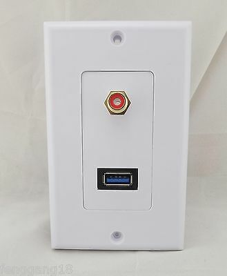 USB 3.0 and RCA Phono Female Socket Wall Outlet Face Plate Audio Coax Composite