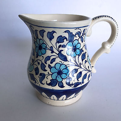 "Multani Hand Painted Pitcher Vase Blue and White Flowers Floral Design 6"" Tall"