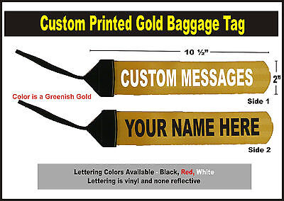 Gold Large Custom Printed Gear Tag for your Bag luggage or Duffle