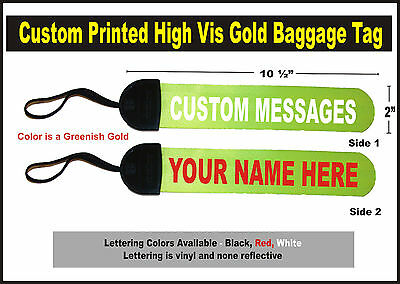 Hi Vis GOLD  Large Custom Printed Gear Tag for your Bag luggage or Duffle