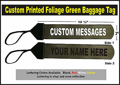 Foliage Green  Large Custom Printed Gear Tag for your Bag luggage or Duffle