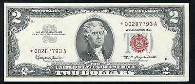 1963 $2 Two Dollars *star* Red Seal Legal Tender United States Note Gem Unc