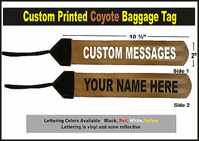 Coyote Large Custom Printed Gear Tag for your Bag luggage or Duffel