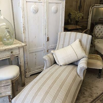 Lovely Old French Chaise Lounge Antique Vintage Recovered In A French Ticking