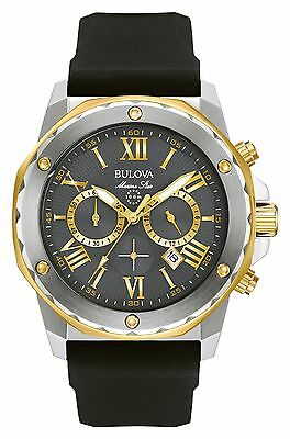 New Bulova 98B277 Marine Star Chronograph Two Tone Rubber Strap Men's Watch