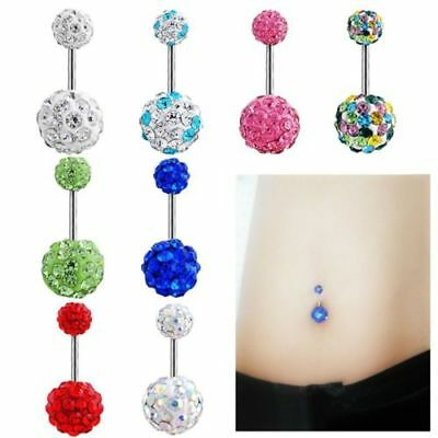 Piercing Nombril Courbe Arcade Cristal Strass Barbell Boule Anneau Belly Ring