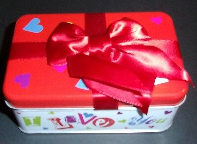 Rectangle Tin w/bow Valentine's Day sweet heart small candy gift I love you