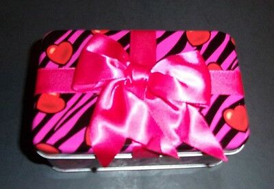 Rectangle Tin w/bow Valentine's Day sweet heart small candy gift pink black red