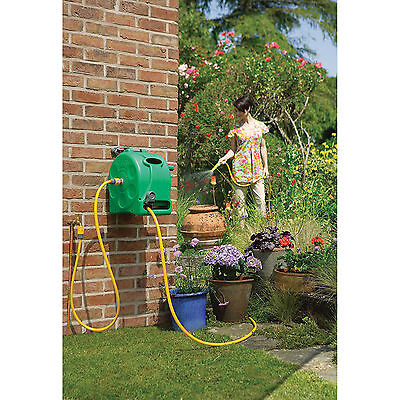 Garden Wall Mounted Water Hose Reel Patio Outdoor Retractable Watering Pipe 25m