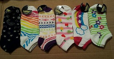 NEW Lot of 6 Pair Women's Novelty Low Cut Ankle Socks Shoe Size 4-10