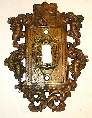 Vintage Virginia Metalcrafters SOLID Brass Light Switch Cover Plate 12-17 Patina