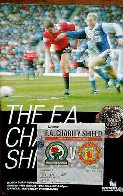 Blackburn V Man Utd 14/8/1994 Charity Shield + Ticket