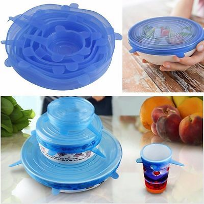 6 Pcs Kitchen Tools Silicone Food Wrap Seal lid Cover Stretch