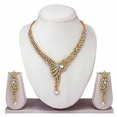 Indian Bollywood Style Traditional Bridal Diamond Necklace Earrings Jewelry Set
