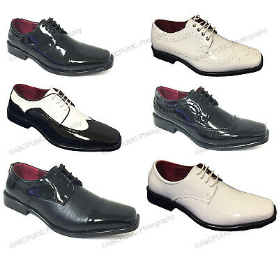 New Men's Dress Shoes Lace Up Tuxedo Wedding Oxfords Formal Italy Patent Party