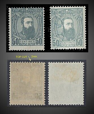 1894 BELGIAN CONGO KING LEOPOLD II 50 c GRAY MINT WITH GUM + USED SCT. 10