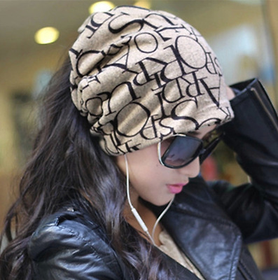 Fashion Unisex Beanie Letters Printed Hat Men Women Cotton Slouchy Cap Scarves