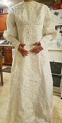 Vintage Embroidered Lace Accent Long Sleeve Wedding Gown