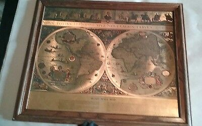 Blaeu Wall Map Gold Foil of Old and New World VTG Framed