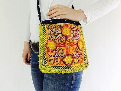 Vintage Kuchi Banjara Beaded and Embroidered Boho Shoulder Bag