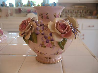 Beautiful Vintage Large Pink Vase With Applied Roses And Floral By Vee Jackson