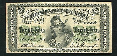 1870 25 Twenty Five Cents Shinplaster Dominion Of Canada Banknote Vf+