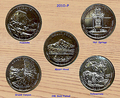 2010 P Five (5) 24K Gold Plated America The Beautiful Parks Quarter Set 5-Coins