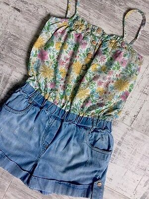Girl Summer Floral Denim Playsuit NEXT Age 7 Years