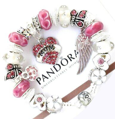Authentic Pandora Silver Bracelet Pink MOM DAY with European Charms NIB