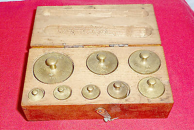 Antique 8 Scale  Weights In Box With Lid