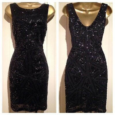 Black Sequin & Bead Embellished Scoop Back Bodycon Mini Evening Dress Size 10