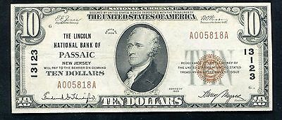 1929 $10 The Lincoln National Bank Of Passaic, Nj National Currency Ch. #13123